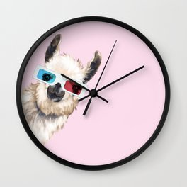 Sneaky Llama with 3D Glasses in Pink Wall Clock