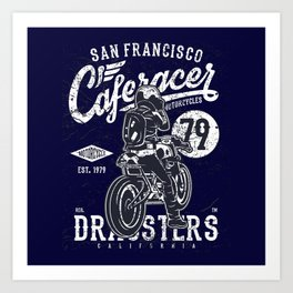 Caferacer Vintage Motorcycle Typography Art Print