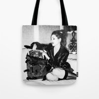 punk rock Tote Bags featuring Punk Rock Girl by Penny Giforos