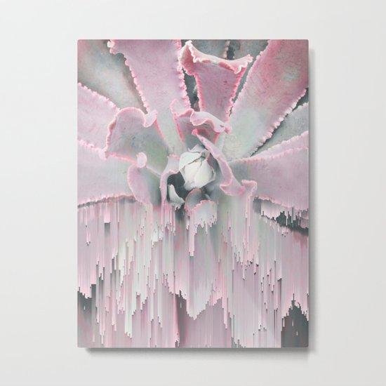 Sweet Pink Succulent Glitches Metal Print