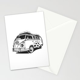 Love van wv 60s hippie surf Stationery Cards