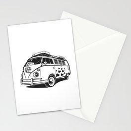 Love van wv 60s hippie surf Stationery Cards