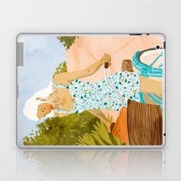 Biking In The Woods #illustration #painting Laptop & iPad Skin