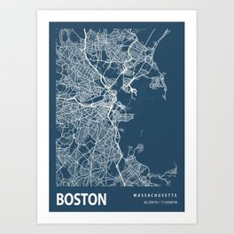 Boston Blueprint Street Map, Boston Colour Map Prints Art Print