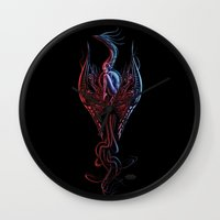 phoenix Wall Clocks featuring Phoenix by Giorgio Finamore