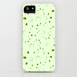 A lot of yellow drops and petals on a green background in nacre. iPhone Case