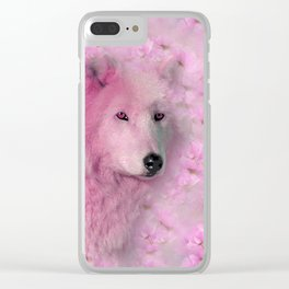 PINK WOLF FLOWER SPARKLE Clear iPhone Case