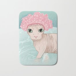 No Hair Don't Care - Sphynx Cat Wearing a Shower Cap in a Bathtub - Wrinkly Hairless Kitty Bath Mat