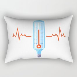 Medical Glass Thermometer Elevated Human Temperature Flat Illustration Rectangular Pillow