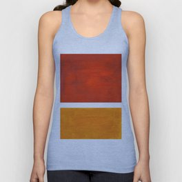 Burnt Orange Yellow Ochre Mid Century Modern Abstract Minimalist Rothko Color Field Squares Unisex Tank Top