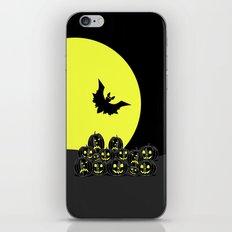 Pumpkins and bat at night iPhone & iPod Skin