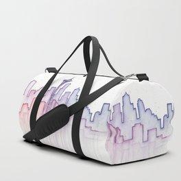 Seattle Skyline Watercolor Duffle Bag