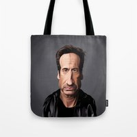 celebrity Tote Bags featuring Celebrity Sunday ~ David Duchovny by rob art   illustration