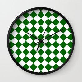 Diamonds - White and Dark Green Wall Clock