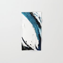 Reykjavik: a pretty and minimal mixed media piece in black, white, and blue Hand & Bath Towel