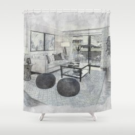 Living Room Interior Furniture Shower Curtain