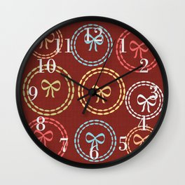 Bright Red Bows Pattern Wall Clock