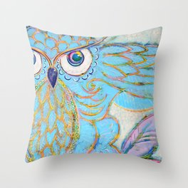 Owl - Colour Me Happy Throw Pillow