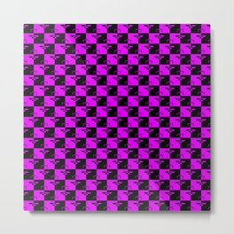 Hot Pink and Black Checkerboard Scales of Justice Legal Pattern Metal Print