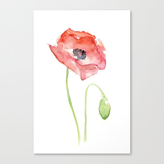 Red Poppy Watercolor Flower Floral Abstract Canvas Print