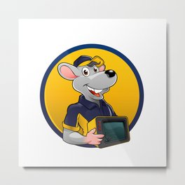 Smiling rat with tv Metal Print