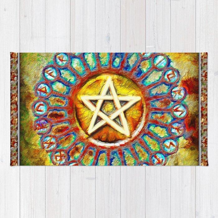 Rune Circle Pentagram Rug
