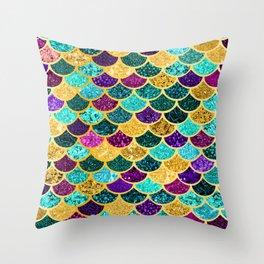 Glitter Purple, Aqua and Gold Mermaid Scales Pattern Throw Pillow