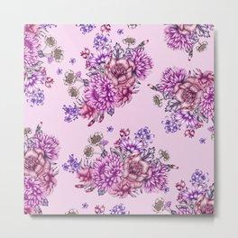 Pink Vintage Florals Metal Print