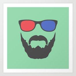 3D beard Art Print