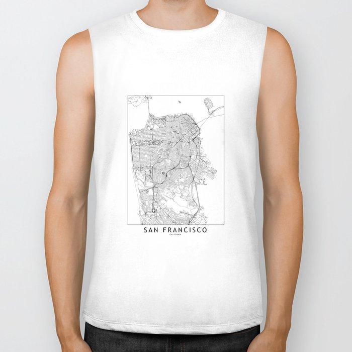 San Francisco White Map Biker Tank