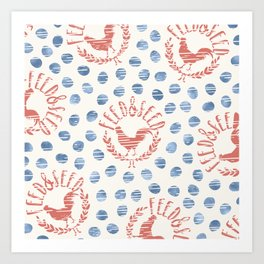 Shabby Farmhouse Rooster Faux Vintage Advertising Sign Coral Blue Beige Art Print