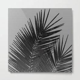 Gray Black Palm Leaves with Black Silver Glitter #1 #tropical #decor #art #society6 Metal Print