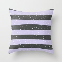 Christmas Simple seamless pattern Snow confetti on Grey and Pastel Purple Stripes Background Throw Pillow