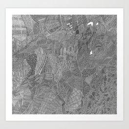 High detail black fine liner Art Print