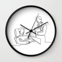 Hospital Patient and Doctor Continuous Line Wall Clock