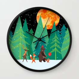 Take a walk under the moon Wall Clock