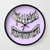 tooth Wall Clocks featuring Sweet Tooth by Corinne Elyse