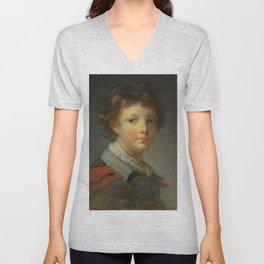 "Jean-Honoré Fragonard ""A Boy in a Red-lined Cloak"" Unisex V-Neck"