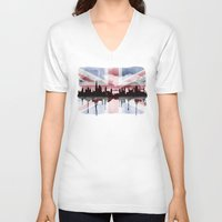 british flag V-neck T-shirts featuring Great British Flag London Skyline 2 by Paint the Moment