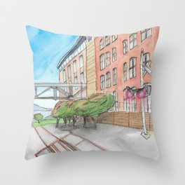 The Campus Railroad Throw Pillow