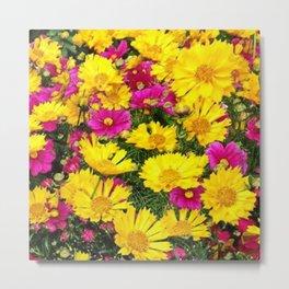 YELLOW COREOPSIS & FUCHSIA GARDEN FLOWERS Metal Print