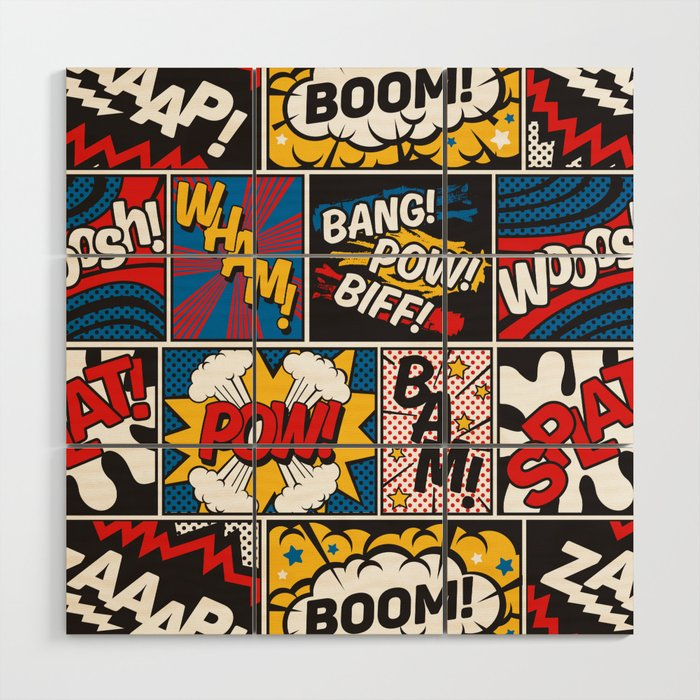 surprising Comic Book Wall Art Part - 4: Modern Comic Book Superhero Pattern Color Colour Cartoon Lichtenstein Pop  Art Wood Wall Art