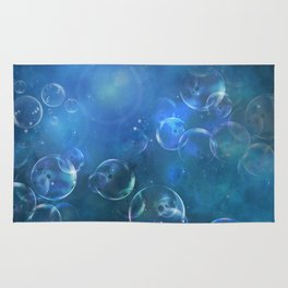 floating bubbles blue watercolor space background Rug