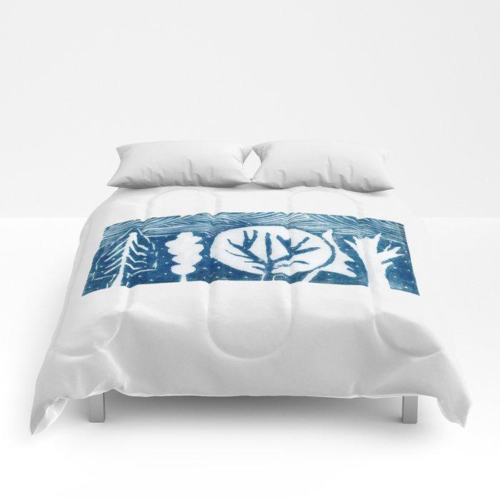 linocut trees print Comforters