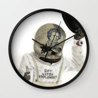 calavera Wall Clocks featuring Clockwork Calavera by Jonathan  Bergeron