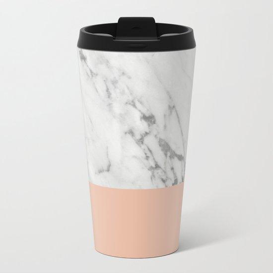 Marble and Coral Metal Travel Mug