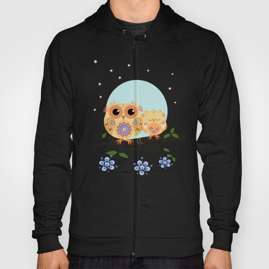 Colourful Flower power owl with her sleepy baby on branch Hoody