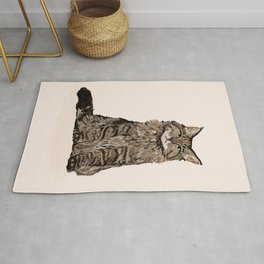 Maine Coon sitting cat portrait cute cat lady gift idea for cat owner cat lover animal pet friendly  Rug