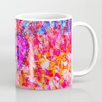 scripture Mugs featuring CHOOSE JOY Christian Art Abstract Painting Typography Happy Colorful Splash Heart Proverbs Scripture by The Faithful Canvas