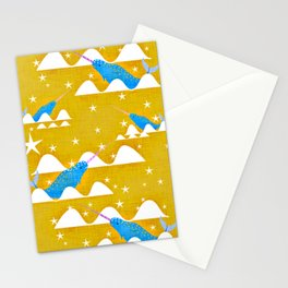 Sea unicorn - Narwhal yellow Stationery Cards